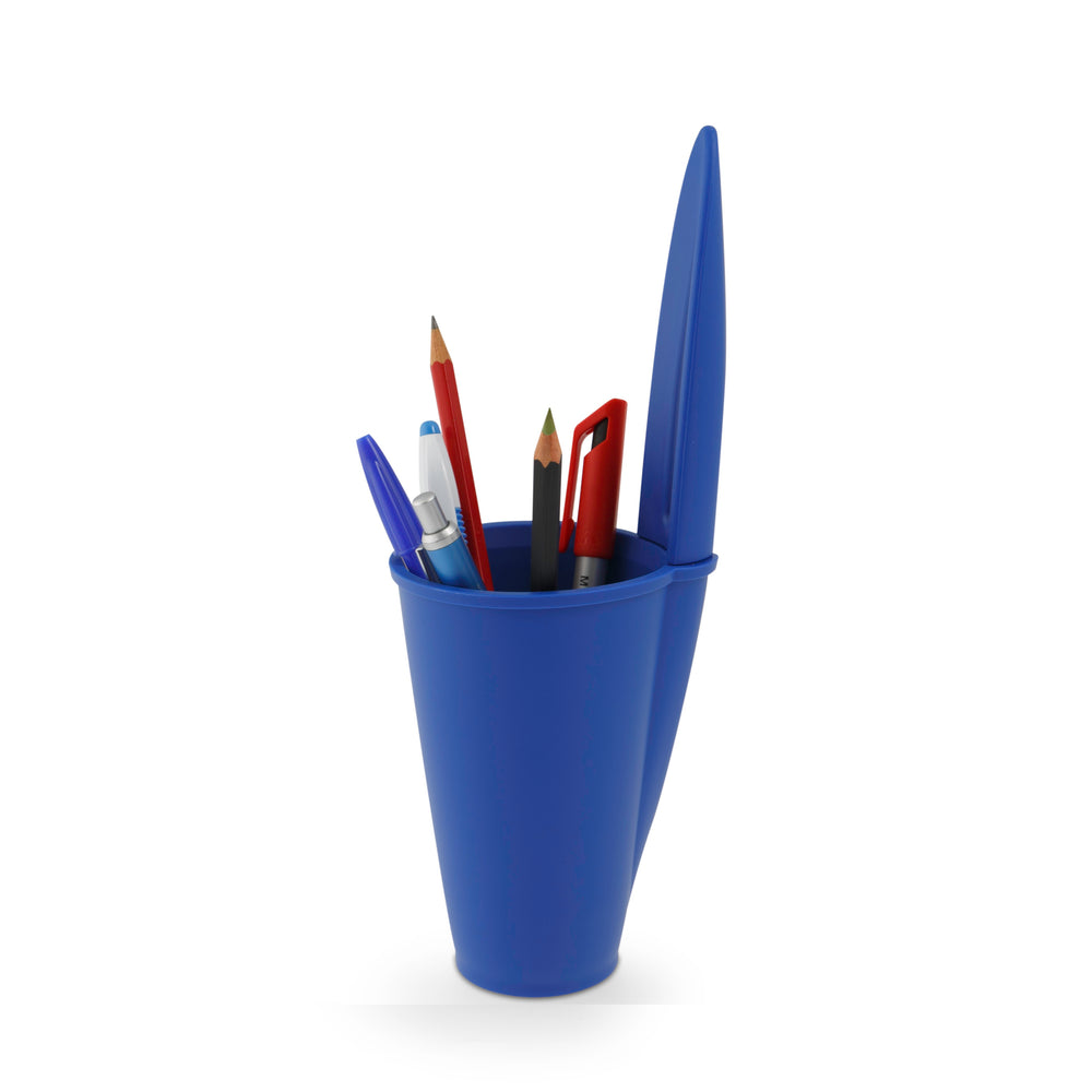 BiC pen lid desk tidy blue