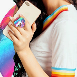Mobile accessory expanding hand-grip and stand Popsocket in multicolour gem pattern