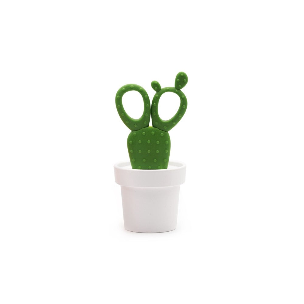 Scissors Cactus in White and Green Desk Tidy
