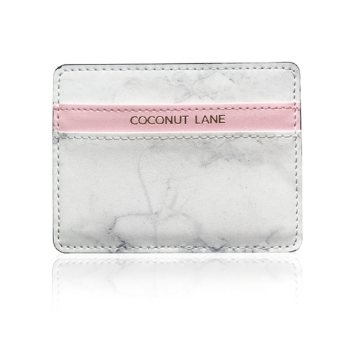 Card holder in marble and pink faux leather