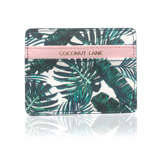 Card holder in palm print and pink faux leather