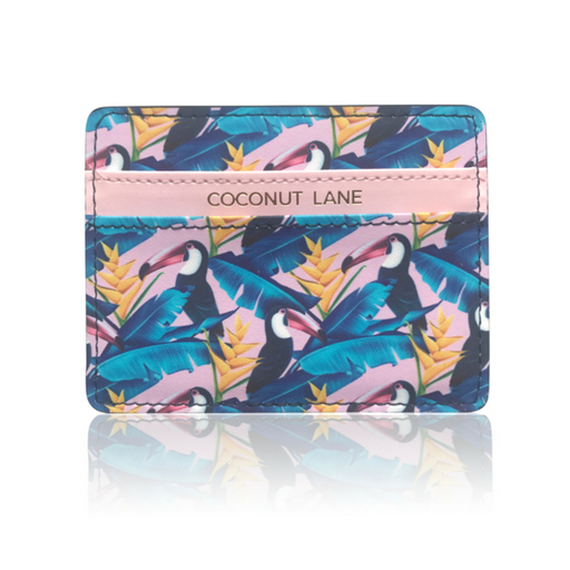 Card Holder in blue and pink toucan print faux leather