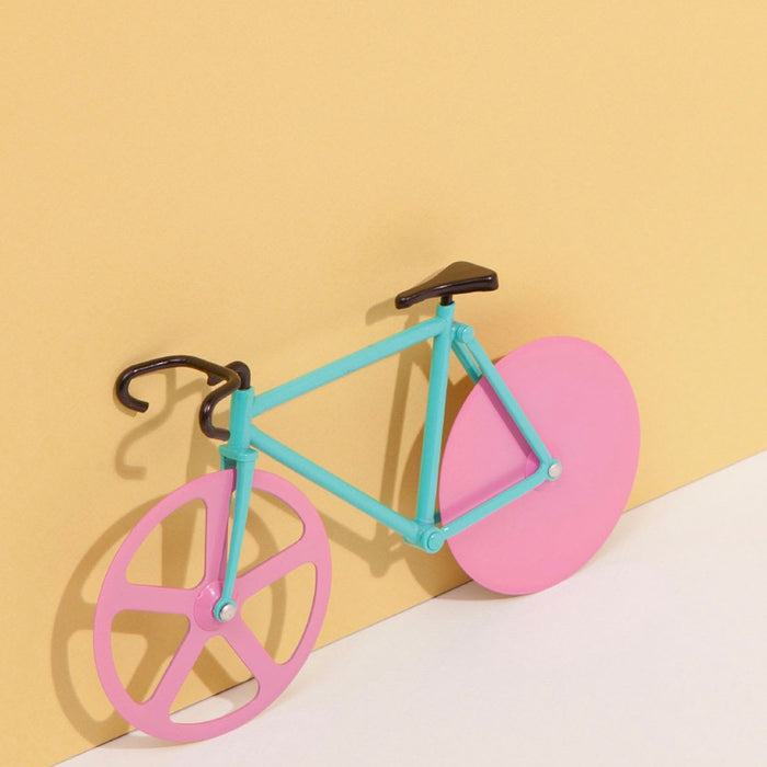 Pizza cutter fixie bike with watermelon inspired colours in turquoise and pink