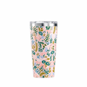 Corkcicle 16oz thermal insulated tumbler for hot and cold drinks in pink floral tapestry print