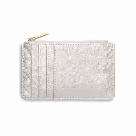 Card purse in silver faux leather