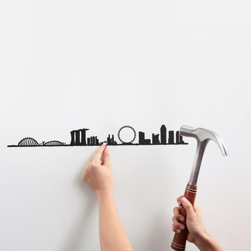 The Line Wall Art Decoration Singapore Skyline in Black