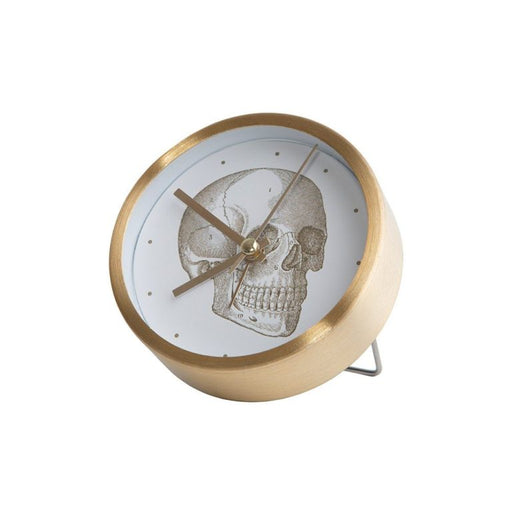 Table clock in gold with skull design