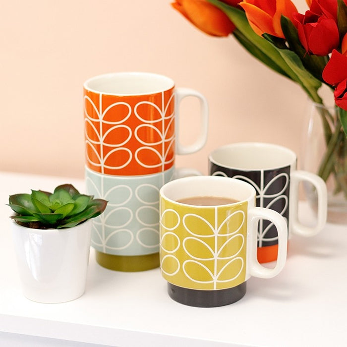 Ceramic stacking stem Orla Kiely mugs | Set of 4 Home Wild & Wolf - Brand Academy Store