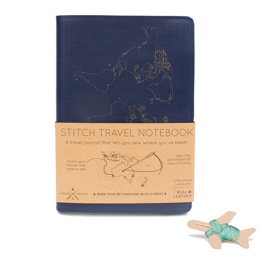 Leather stitch travel customisable notebook