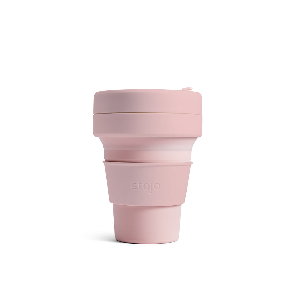 Stojo collapsible 335ml travel cup in carnation pink
