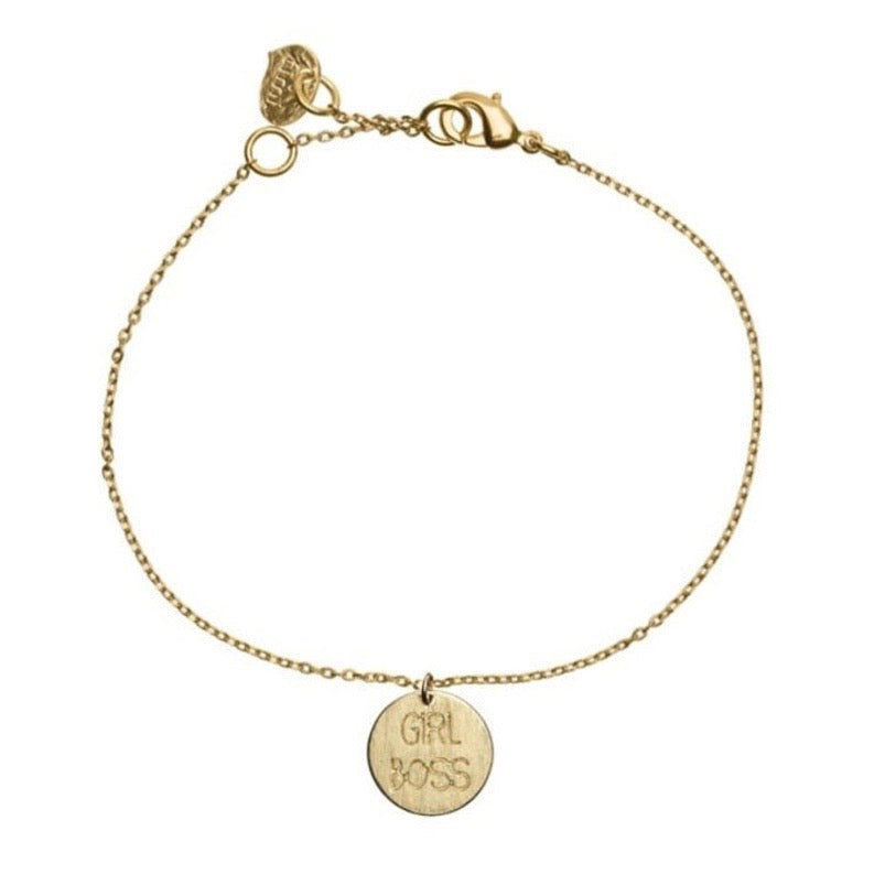 Bracelet with 'Girl Boss' charm in gold