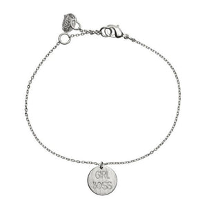 Bracelet with 'Girl Boss' charm in silver