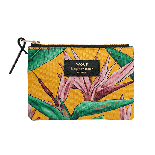 Pouch with Bird of Paradise orange print in small
