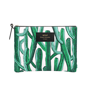 Load image into Gallery viewer, Large Pouch Wild Cactus Print Zipped