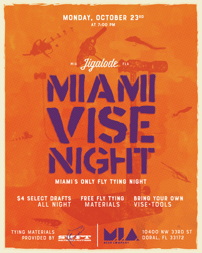 Miami, Fly Tying Night, Jigalode, Fishing, Fly Fishing, Oyster Creek Outfitters, Salt Water Fly Tyers, Fly Fishing, Florida Keys, West Palm Beach, MIA Beer Company, MIA Brewing, Tarpon, Snook, Redfish, Bonefish, Trout