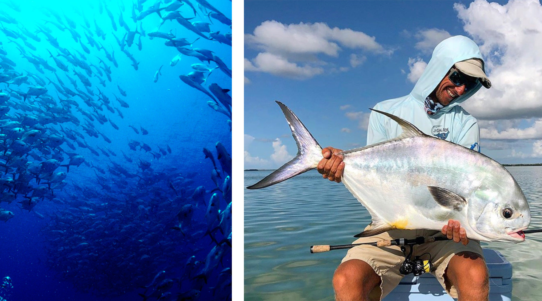 Permit Fish Spawning at the Western Dry Rocks and a fisherman holding a large permit in the Florida Keys while wearing the Jigalode Fishing Performance Sun Hoodie