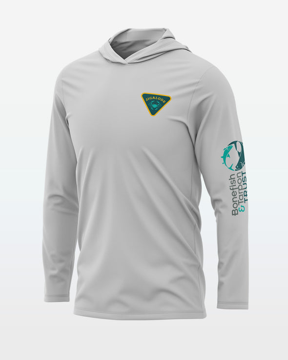 The front of the Jigalode and Bonefish & Tarpon Trust Permit Fishing Performance Sun Hoodie
