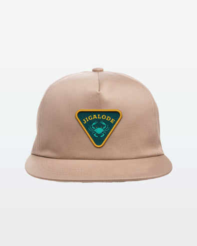 The front of the Jigalode and Bonefish & Tarpon Trust Crab Snapback Fishing Hat