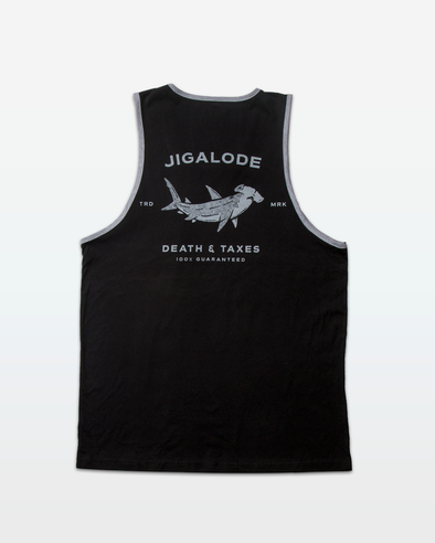 "Black mens tank top from Jigalode with a gray hammerhead shark that reads ""Death & Taxes, 100% guaranteed"""