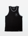 Front of black mens tank top from Jigalode with a gray shark tooth on the chest that is surrounded by the word Jigalode
