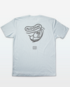 "Light Blue Mens Fishing T-Shirt with a line drawing of a Tarpon fish head on the back. The Tarpon has spiral, hypnotizing eyes and a speech bubble that reads ""POOOON!"""