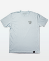"Light Blue Mens Fishing T-Shirt with a line drawing of a Tarpon fish head on the chest. The Tarpon has spiral, hypnotizing eyes and a speech bubble that reads ""POOOON!"""