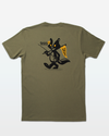 "Back of an Olive Green t-shirt from Jigalode and Badfish Supply that pictures a cartoon skunk with a fishing rod in one hand and a flag in the other that reads ""Don't Skunk"""