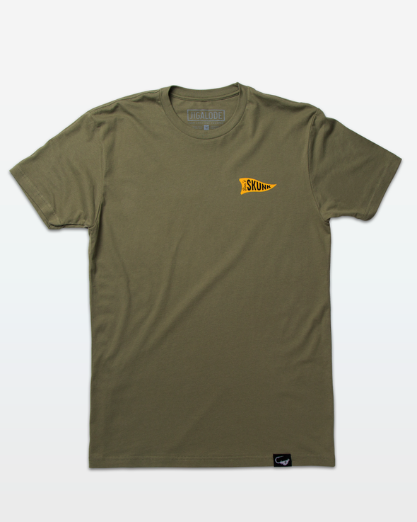 "Front of an Olive Green t-shirt from Jigalode and Badfish Supply with a triangular flag on the chest that reads ""Don't Skunk"""