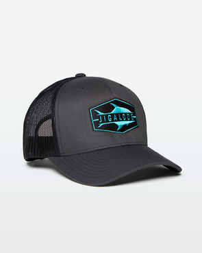 "Charcoal and black mesh trucker hat with a teal permit fish logo on the front that reads ""Jigalode"". From fishing apparel brand, Jigalode."