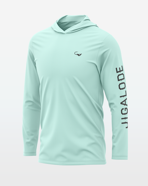 Seafoam Mighty Jig Performance Fishing Hoodie from fishing apparel brand Jigalode. The long sleeve shirt is UPF+50 for sun protection, moisture wicking, and anti-microbial.