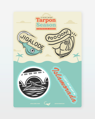 Sticker sheet with 5 stickers designed for the Jigalode Tarpon Season Capsule 2020.