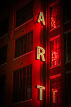 "Red Neon Light  ""ART"" Cincinnati Architecture Building Sign"