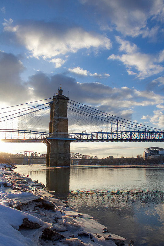 Roebling Suspension Bridge, Cincinnati, Silver Water in Frozen City