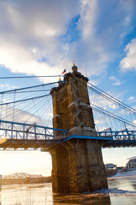 Roebling Suspension Bridge, Cincinnati Urban Sunset