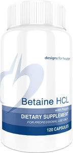 Betaine HCl with Pepsin - 750mg Betaine Hydrochloride + Protein Digestive Enzyme, 120 Capsules