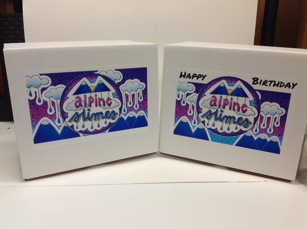 Alpineslimes Birthday/Gift Box (Does not come with slime or the empty containers pictured)