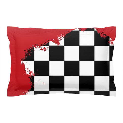 Red Race Flag BMX Pillow Sham