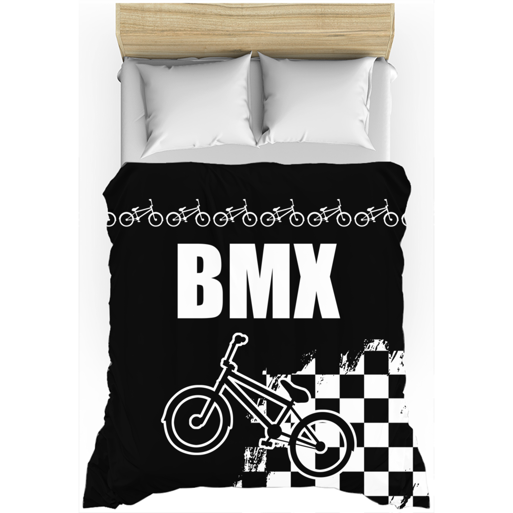 Black and White BMX Race Flag Duvet Cover
