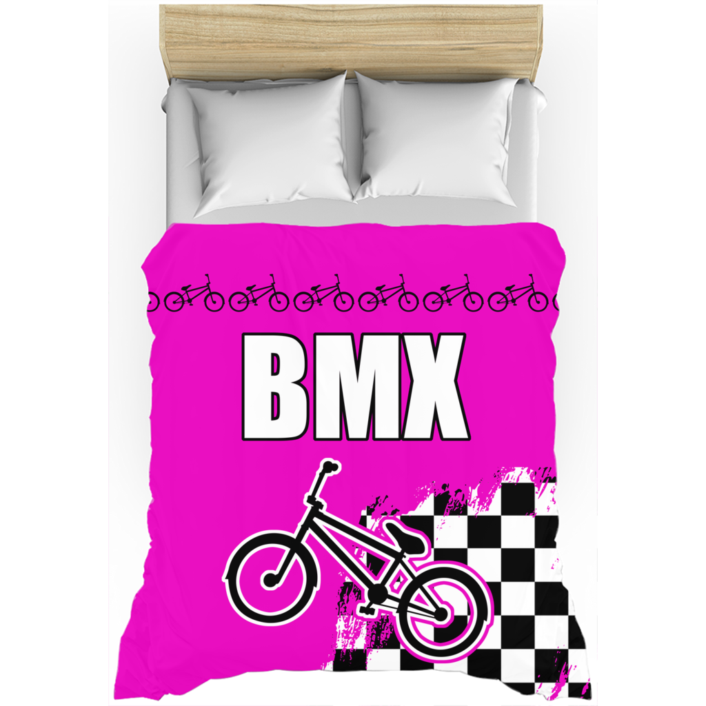 Pink BMX Race Flag Duvet Cover Bedding Set