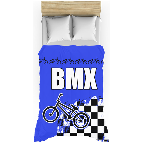 Blue BMX Racing Flag Duvet Cover Bedding