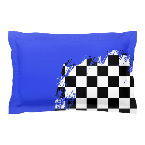 Blue BMX Race Flag Pillow Sham