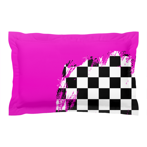Pink Race Flag Pillow Sham
