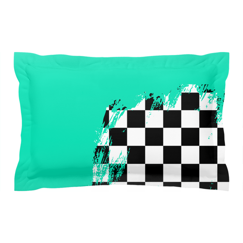 Teal Race Flag Pillow Sham