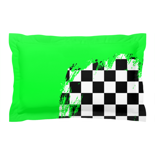 Green Race Flag Pillow Sham