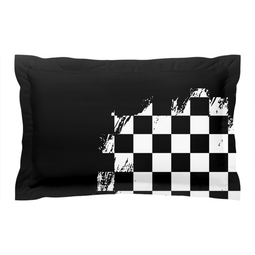 Black Race Flag BMX Pillow Sham
