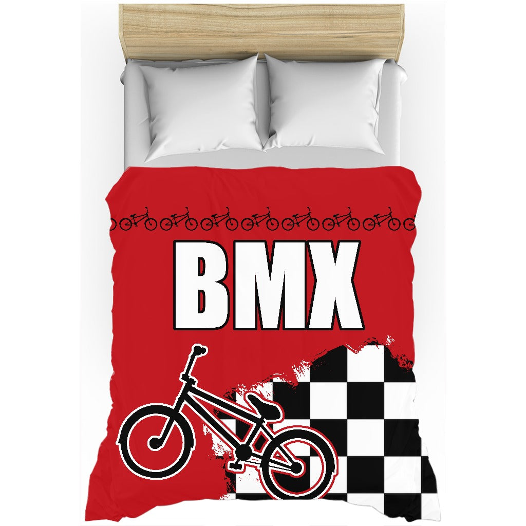 Red BMX Race Flag Duvet Cover Bedding