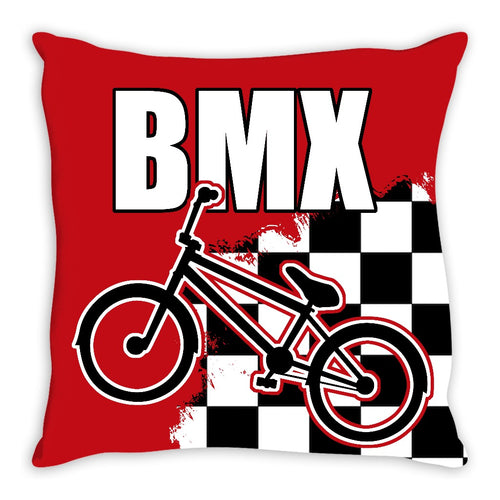 BMX Race Flag Bike 18x18 Throw Pillow