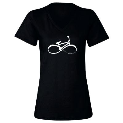 "Infinity BMX Mom ""love my bmx rider"" Women's V-Neck T-shirt"