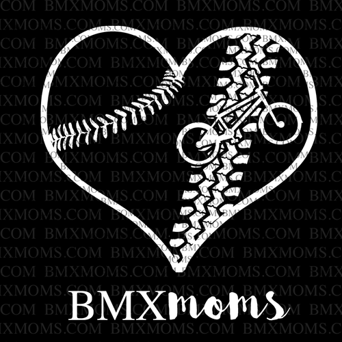 Softball or Baseball BMX Mom Heart Car Decal