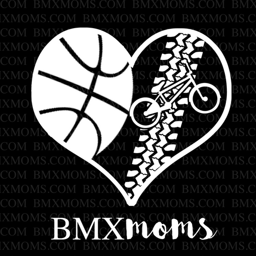 Basketball and BMX Track Mom Heart Car Decal